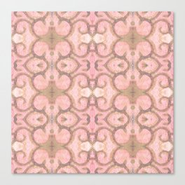 Moroccan Scroll Swirl Modern Pattern in Pink and Cocoa Canvas Print