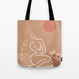 Woman in Nature Illustration Tote Bag