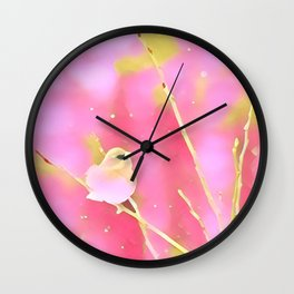 Junco Pink Yellow by CheyAnne Sexton Wall Clock
