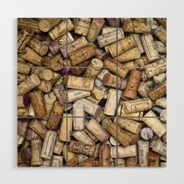 Fine Wine Corks Square Wood Wall Art
