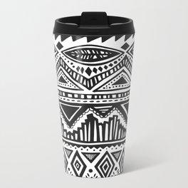 zig-zag handdrawn black and white Metal Travel Mug