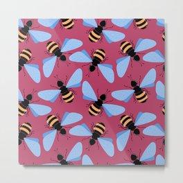 Cute bees pattern Metal Print