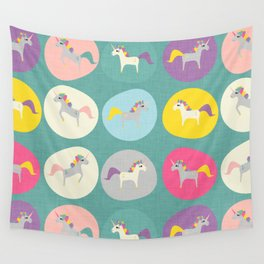 Cute Unicorn polka dots teal pastel colors and linen texture #homedecor #apparel #stationary #kids Wall Tapestry