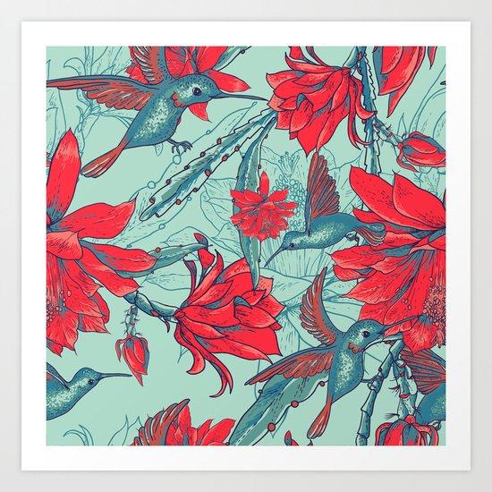 Flowers and Hummingbirds Art Print