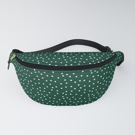 Chaotic points. On a green background white peas. Fanny Pack