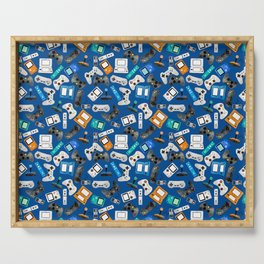 Watercolor Gaming Video Game Devices Pattern Blue Serving Tray
