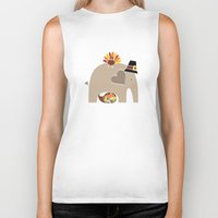 thanksgiving Biker Tanks featuring Happy Thanksgiving Elephant by Elephant Love