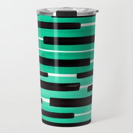 Pastel Teal Primitive Stripes Mid Century Modern Minimalist Watercolor Gouache Painting Colorful Str Travel Mug