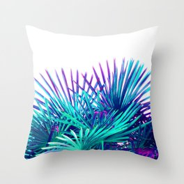 Cool modern teal purple gradient artistic palm tree tropical plants Throw Pillow