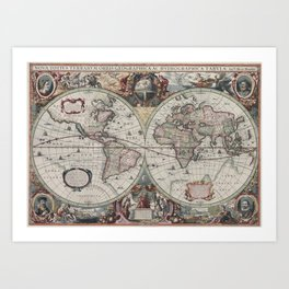 Vintage Map of The World (1630) Art Print