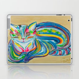 Hypnotic Rainbow Cat on neutral background Laptop & iPad Skin