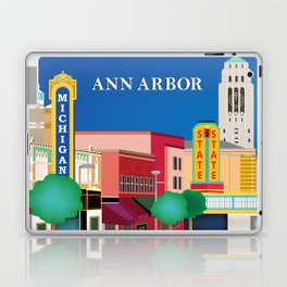 Ann Arbor, Michigan - Skyline Illustration by Loose Petals Laptop & iPad Skin