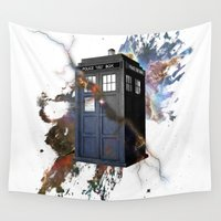 tardis Wall Tapestries featuring tardis by erkamaj