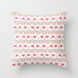 Cherry Cupcakes - Pink Doodle Pattern Throw Pillow