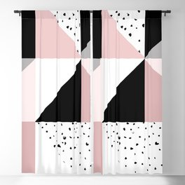 Geometrical pink black gray watercolor polka dots color block Blackout Curtain