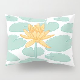 Water Lily Flower and Pads Illustration Pillow Sham