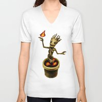 groot V-neck T-shirts featuring Groot by Anna Shell