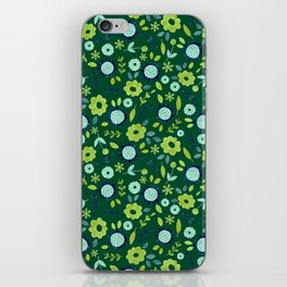 Green and blue meadow pattern iPhone Skin