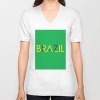 brazil V-neck T-shirts featuring BRAZIL by try2benice