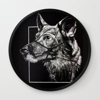german shepherd Wall Clocks featuring German Shepherd by Ashley Anderson