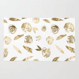 Gold Roses Rosette Pattern Golden on White Rug