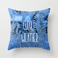 cuddle Throw Pillows featuring Cuddle Weather by ALLY COXON