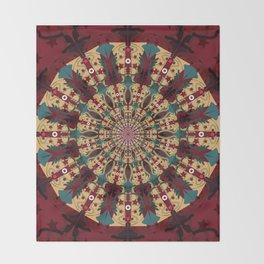Mandala in red grená Throw Blanket