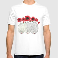 Poppy Girls White MEDIUM Mens Fitted Tee