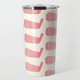 Golf Club Head Vintage Pattern (Beige/Pink) Travel Mug