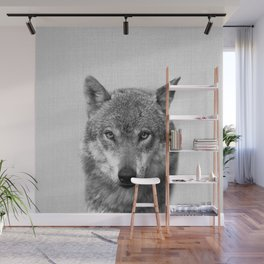 Wolf - Black & White Wall Mural