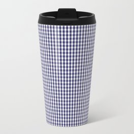 USA Flag Blue and White Gingham Checked Travel Mug
