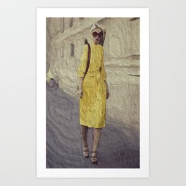 Mellow Yellow Pencil Dress Art Print