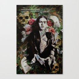 Frida Kahlo skulls and flowers Canvas Print