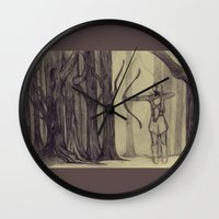 lotr Wall Clocks featuring Legolas LOTR - the noisy silence of woods by Blanca MonQnill Sole
