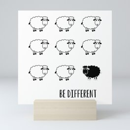 Typography Poster, Motivational, Be different, Black Sheep Mini Art Print