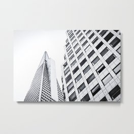 pyramid building and modern building at San Francisco, USA in black and white Metal Print