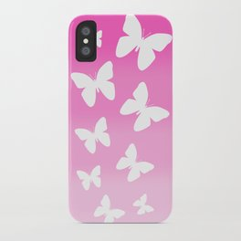 Pink Butterfly Ombre Fade iPhone Case