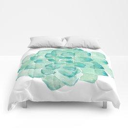Watercolor Succulent print in seafoam green Comforters