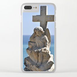 Angel and Cross on the Isle of Sicily Clear iPhone Case