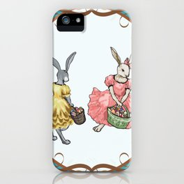 Dressed Easter bunnies 2a iPhone Case