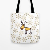 reindeer Tote Bags featuring Reindeer by Mr and Mrs Quirynen