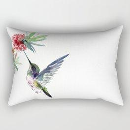 Hummingbird. elegant bird and flowers, minimalist bird art beautiful bird painting Rectangular Pillow