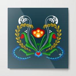Scandinavian Folk Art ~ Tulip v2 Metal Print