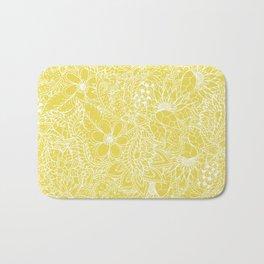 Modern trendy white floral lace hand drawn pattern on meadowlark yellow Bath Mat