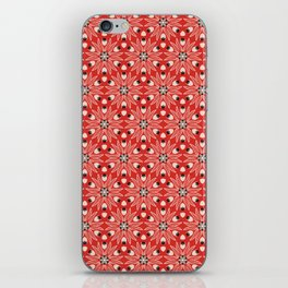 Vintage Poppy Red and Old Cream Drawn Flower Linear, with Black Seed Pods Floral iPhone Skin