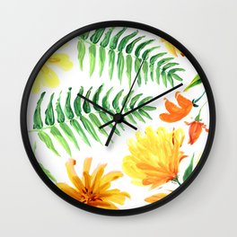 Palm leaves and colorful tropical flowers Wall Clock