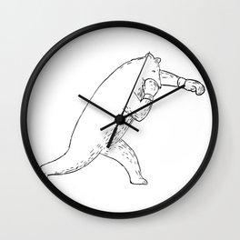 Kodiak Bear Left Straight Punch Drawing Wall Clock
