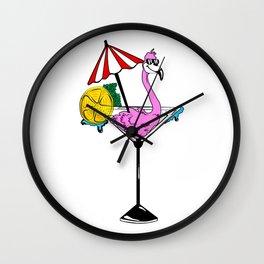 Martini Flamingo Wall Clock