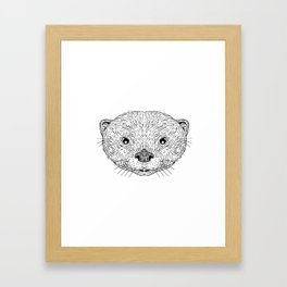 Asian Small-Clawed Otter Head Drawing Framed Art Print