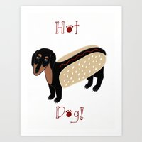 daschund Art Prints featuring Hot Dog! by Caroline W Illustration